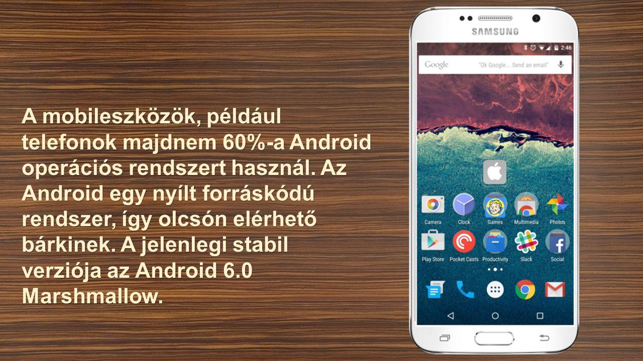 A mobileszközök, például telefonok majdnem 60%-a Android operációs rendszert használ.