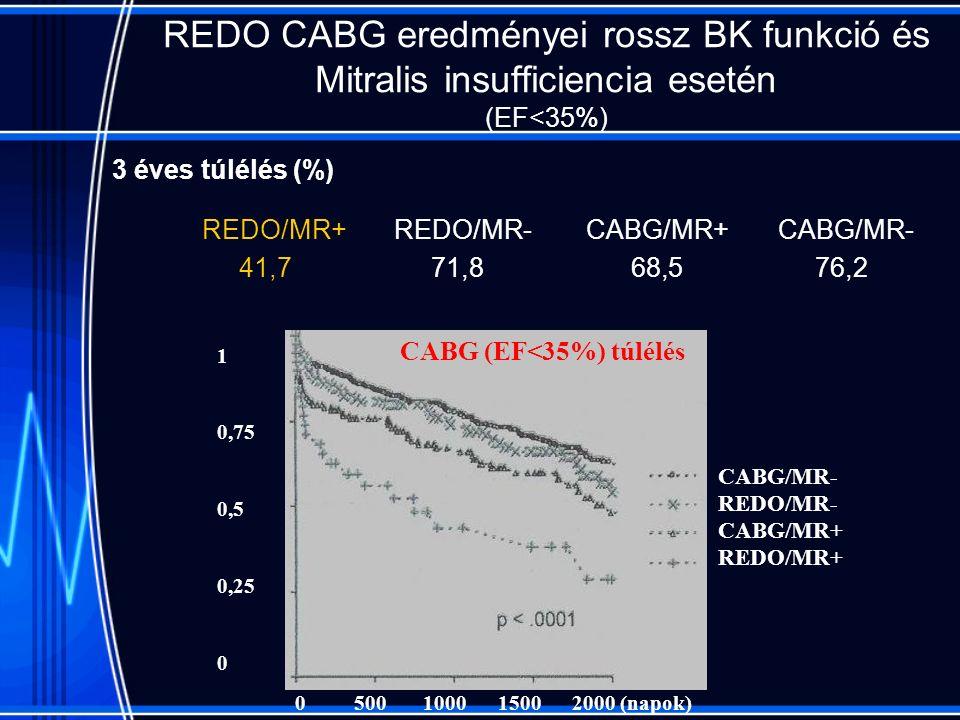 REDO CABG eredményei rossz BK funkció és Mitralis insufficiencia esetén (EF<35%) REDO/MR+REDO/MR-CABG/MR+CABG/MR- 41,7 71,8 68,5 76,2 1 0,75 0,5 0,25 0 0 500 1000 1500 2000 (napok) CABG/MR- REDO/MR- CABG/MR+ REDO/MR+ CABG (EF<35%) túlélés 3 éves túlélés (%)