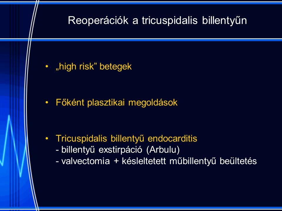 """Reoperációk a tricuspidalis billentyűn """"high risk betegek Főként plasztikai megoldások Tricuspidalis billentyű endocarditis - billentyű exstirpáció (Arbulu) - valvectomia + késleltetett műbillentyű beültetés"""