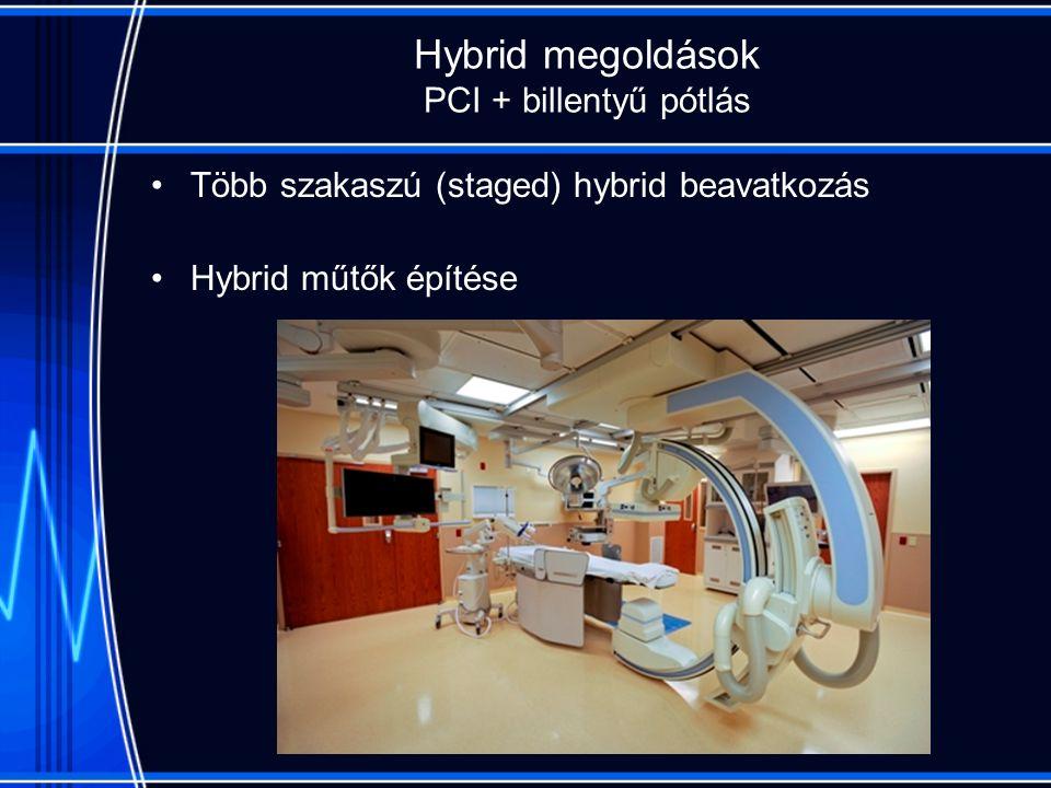 Hybrid megoldások PCI + billentyű pótlás Több szakaszú (staged) hybrid beavatkozás Hybrid műtők építése
