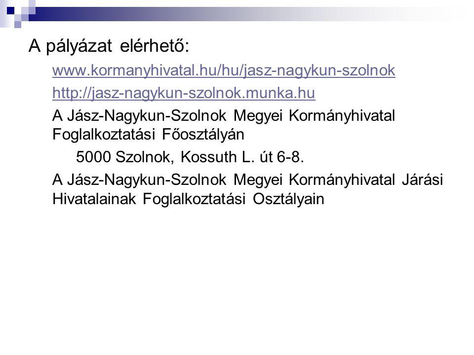 A pályázat elérhető: www.kormanyhivatal.hu/hu/jasz-nagykun-szolnok http://jasz-nagykun-szolnok.munka.hu A Jász-Nagykun-Szolnok Megyei Kormányhivatal Foglalkoztatási Főosztályán 5000 Szolnok, Kossuth L.