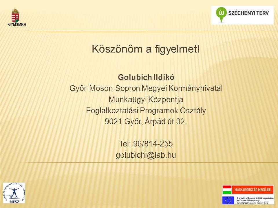 Köszönöm a figyelmet! Golubich Ildikó Győr-Moson-Sopron Megyei Kormányhivatal Munkaügyi Központja Foglalkoztatási Programok Osztály 9021 Győr, Árpád ú