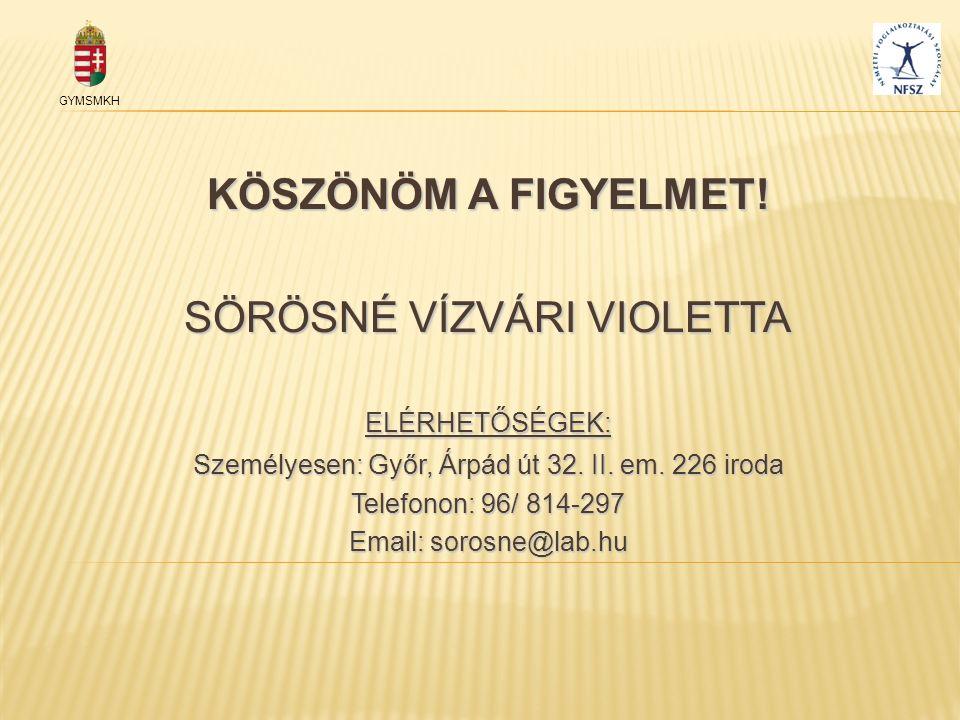 KÖSZÖNÖM A FIGYELMET! SÖRÖSNÉ VÍZVÁRI VIOLETTA ELÉRHETŐSÉGEK: Személyesen: Győr, Árpád út 32. II. em. 226 iroda Telefonon: 96/ 814-297 Email: sorosne@