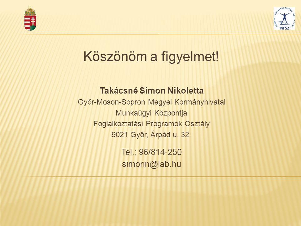 Köszönöm a figyelmet! Takácsné Simon Nikoletta Győr-Moson-Sopron Megyei Kormányhivatal Munkaügyi Központja Foglalkoztatási Programok Osztály 9021 Győr