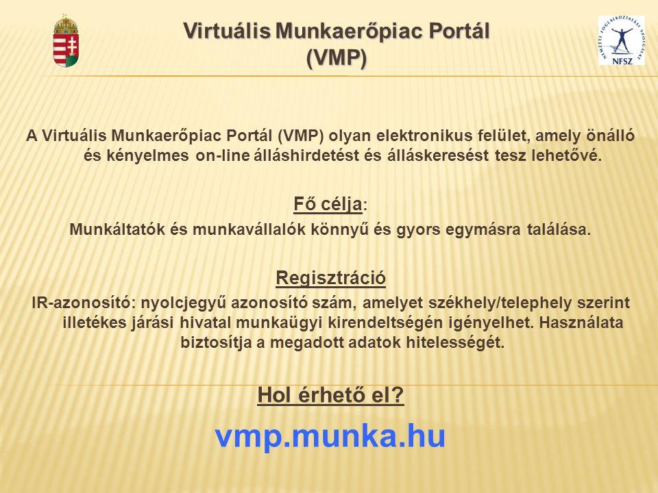 Virtuális Munkaerőpiac Portál (VMP) A Virtuális Munkaerőpiac Portál (VMP) olyan elektronikus felület, amely önálló és kényelmes on-line álláshirdetést