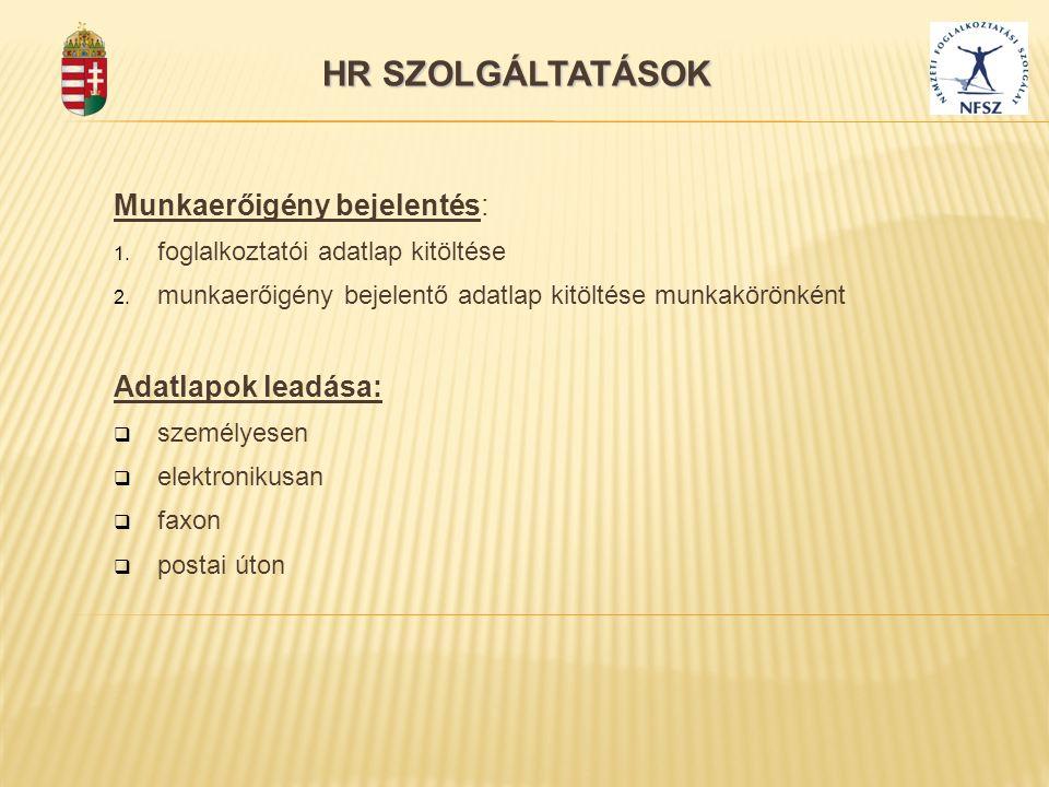 Munkaerőigény bejelentés: 1. foglalkoztatói adatlap kitöltése 2. munkaerőigény bejelentő adatlap kitöltése munkakörönként Adatlapok leadása:  személy