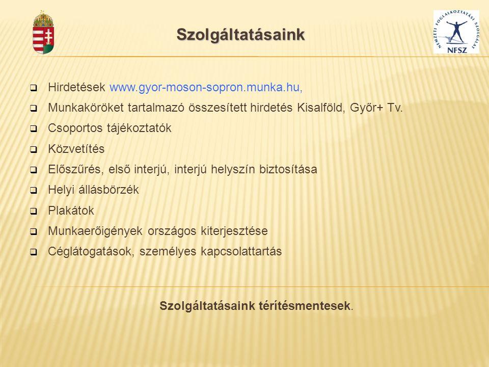  Hirdetések www.gyor-moson-sopron.munka.hu,  Munkaköröket tartalmazó összesített hirdetés Kisalföld, Győr+ Tv.  Csoportos tájékoztatók  Közvetítés