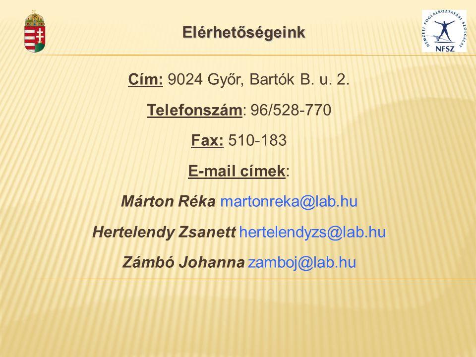 Elérhetőségeink Cím: 9024 Győr, Bartók B. u. 2. Telefonszám: 96/528-770 Fax: 510-183 E-mail címek: Márton Réka martonreka@lab.hu Hertelendy Zsanett he