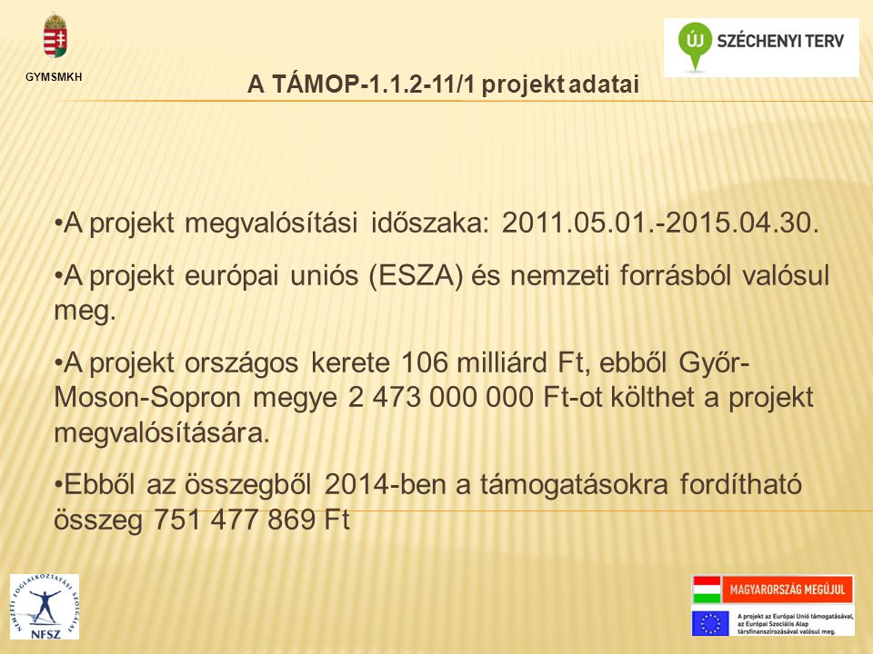 GYMSMKH A projekt megvalósítási időszaka: 2011.05.01.-2015.04.30. A projekt európai uniós (ESZA) és nemzeti forrásból valósul meg. A projekt országos