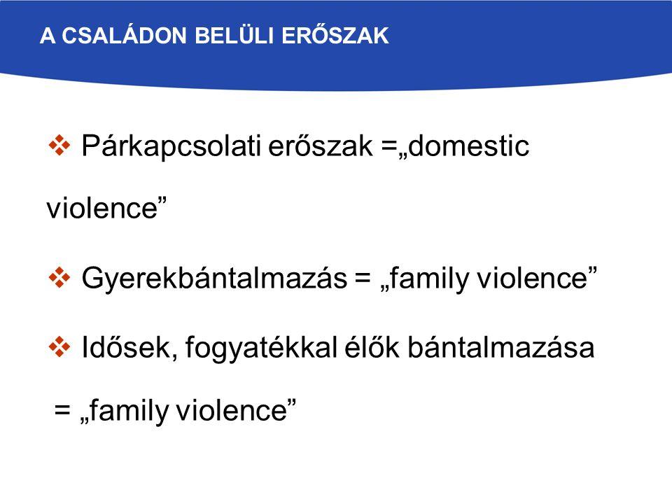 """ Párkapcsolati erőszak =""""domestic violence""""  Gyerekbántalmazás = """"family violence""""  Idősek, fogyatékkal élők bántalmazása = """"family violence"""" A CSA"""