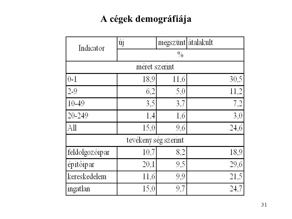 31 A cégek demográfiája