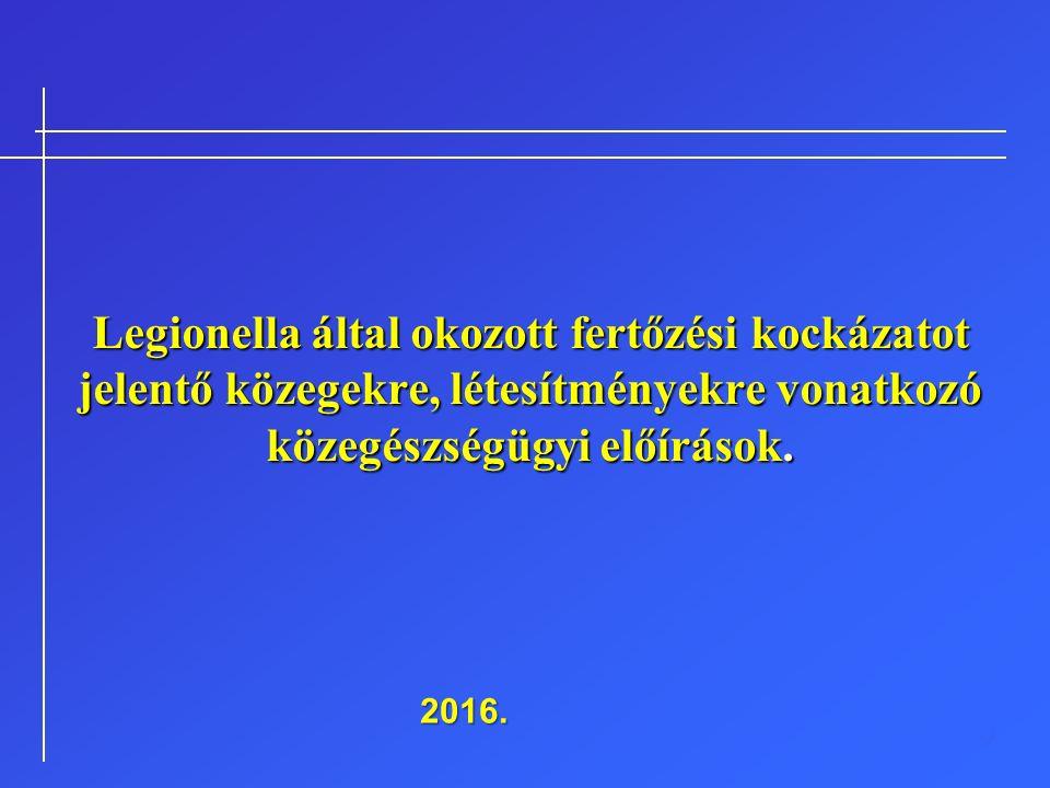 Legionella által okozott fertőzési kockázatot jelentő közegekre, létesítményekre vonatkozó közegészségügyi előírások. 2016.