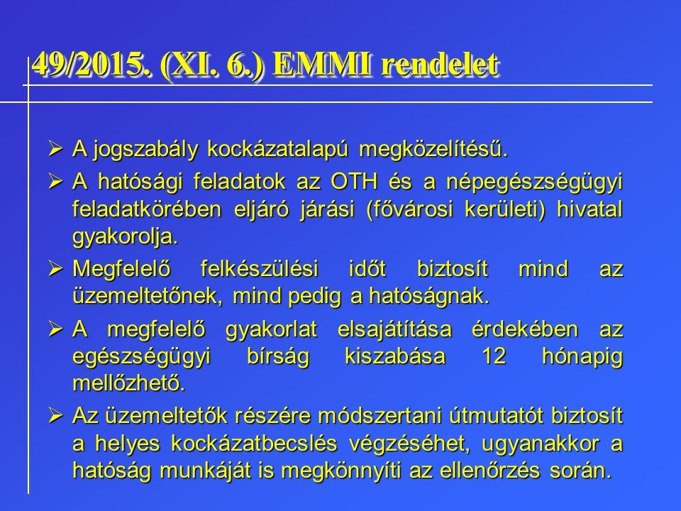 49/2015. (XI. 6.) EMMI rendelet  A jogszabály kockázatalapú megközelítésű.  A hatósági feladatok az OTH és a népegészségügyi feladatkörében eljáró j
