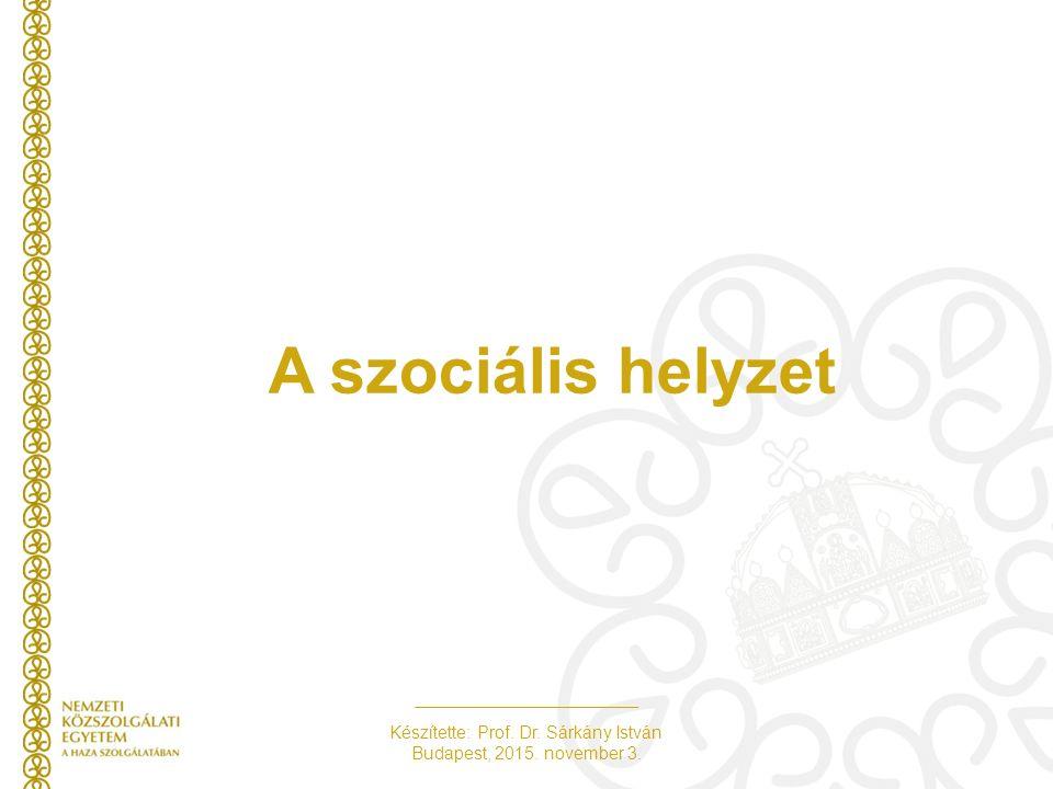 Készítette: Prof. Dr. Sárkány István Budapest, 2015. november 3. A szociális helyzet