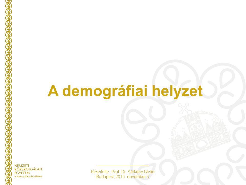 Készítette: Prof. Dr. Sárkány István Budapest, 2015. november 3. A demográfiai helyzet