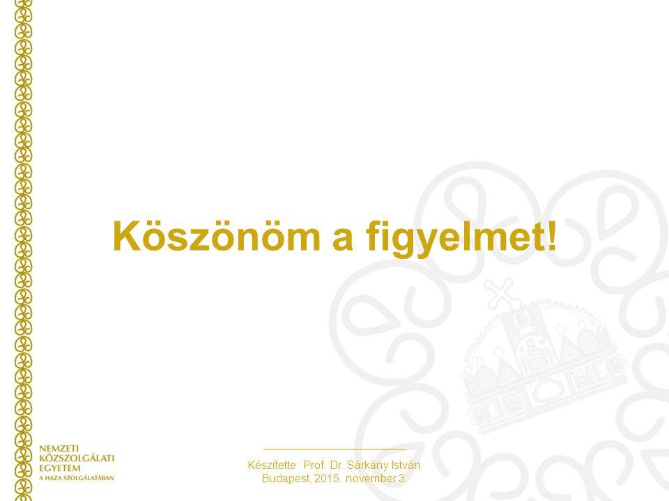 Készítette: Prof. Dr. Sárkány István Budapest, 2015. november 3. Köszönöm a figyelmet!