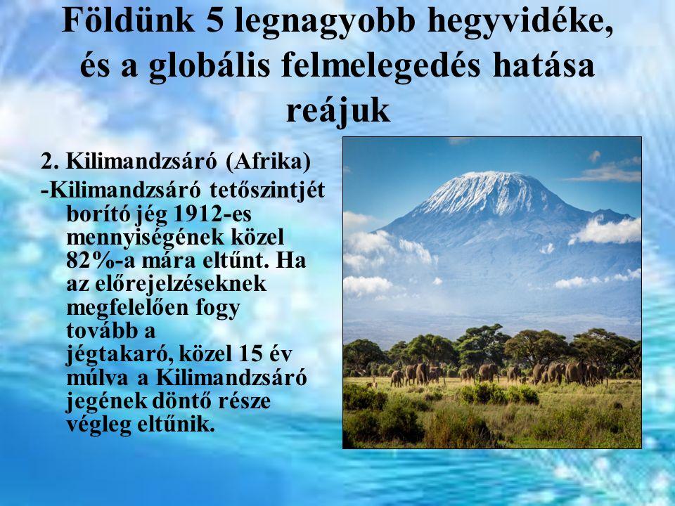 Földünk 5 legnagyobb hegyvidéke, és a globális felmelegedés hatása reájuk 2. Kilimandzsáró (Afrika) -Kilimandzsáró tetőszintjét borító jég 1912-es men