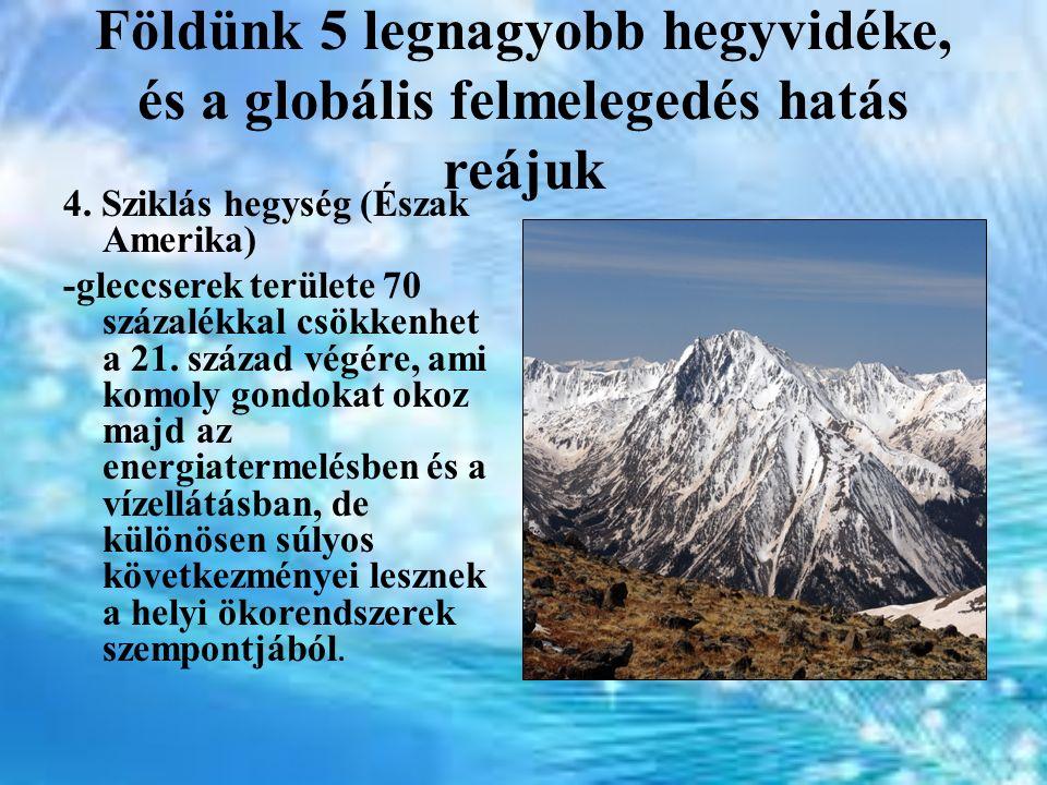 Földünk 5 legnagyobb hegyvidéke, és a globális felmelegedés hatás reájuk 4. Sziklás hegység (Észak Amerika) -gleccserek területe 70 százalékkal csökke