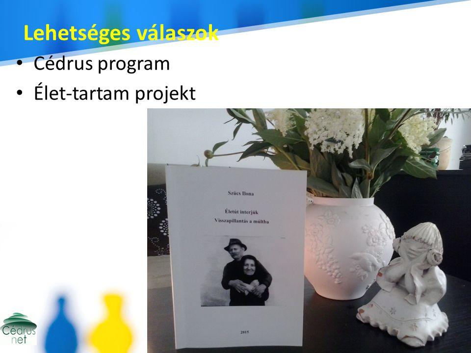 Lehetséges válaszok Cédrus program Élet-tartam projekt