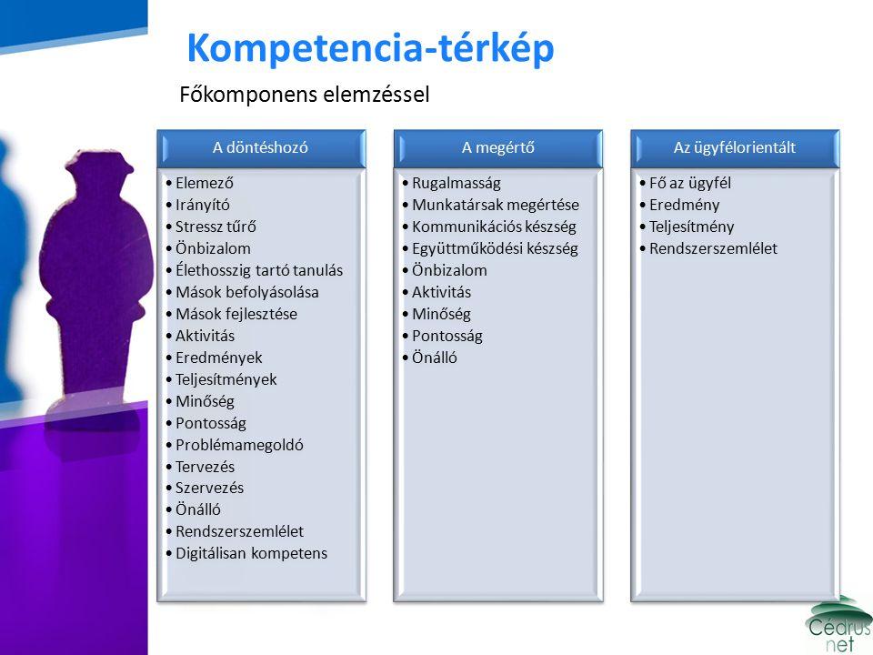 Kompetencia-térkép Főkomponens elemzéssel A döntéshozó Elemező Irányító Stressz tűrő Önbizalom Élethosszig tartó tanulás Mások befolyásolása Mások fejlesztése Aktivitás Eredmények Teljesítmények Minőség Pontosság Problémamegoldó Tervezés Szervezés Önálló Rendszerszemlélet Digitálisan kompetens A megértő Rugalmasság Munkatársak megértése Kommunikációs készség Együttműködési készség Önbizalom Aktivitás Minőség Pontosság Önálló Az ügyfélorientált Fő az ügyfél Eredmény Teljesítmény Rendszerszemlélet