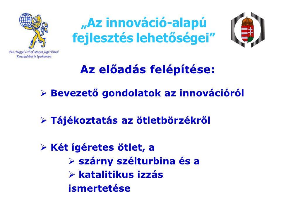 """""""Az innováció-alapú fejlesztés lehetőségei Az előadás felépítése:  Bevezető gondolatok az innovációról  Tájékoztatás az ötletbörzékről  Két ígéretes ötlet, a  szárny szélturbina és a  katalitikus izzás ismertetése"""