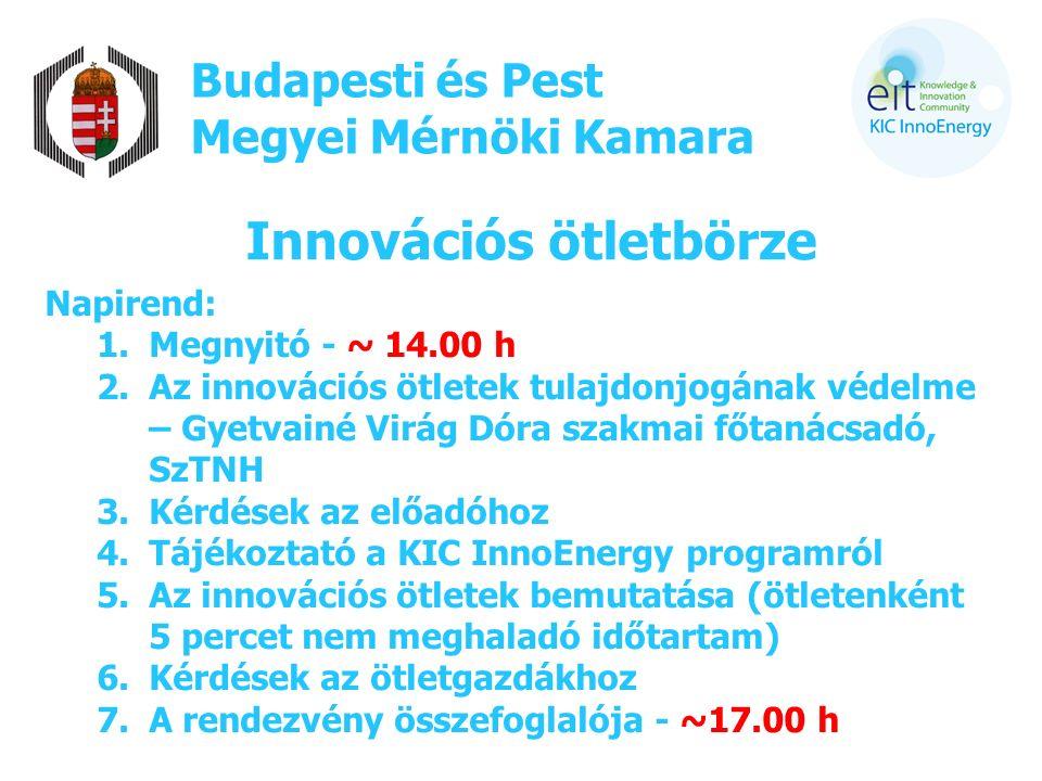 Budapesti és Pest Megyei Mérnöki Kamara Innovációs ötletbörze Napirend: 1.Megnyitó - ~ 14.00 h 2.Az innovációs ötletek tulajdonjogának védelme – Gyetvainé Virág Dóra szakmai főtanácsadó, SzTNH 3.Kérdések az előadóhoz 4.Tájékoztató a KIC InnoEnergy programról 5.Az innovációs ötletek bemutatása (ötletenként 5 percet nem meghaladó időtartam) 6.Kérdések az ötletgazdákhoz 7.A rendezvény összefoglalója - ~17.00 h