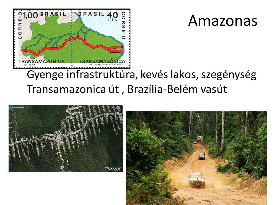 Amazonas Gyenge infrastruktúra, kevés lakos, szegénység Transamazonica út, Brazília-Belém vasút