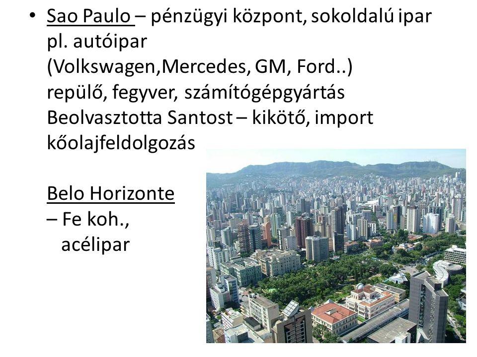 Sao Paulo – pénzügyi központ, sokoldalú ipar pl. autóipar (Volkswagen,Mercedes, GM, Ford..) repülő, fegyver, számítógépgyártás Beolvasztotta Santost –