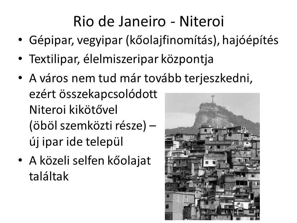 Rio de Janeiro - Niteroi Gépipar, vegyipar (kőolajfinomítás), hajóépítés Textilipar, élelmiszeripar központja A város nem tud már tovább terjeszkedni, ezért összekapcsolódott Niteroi kikötővel (öböl szemközti része) – új ipar ide települ A közeli selfen kőolajat találtak