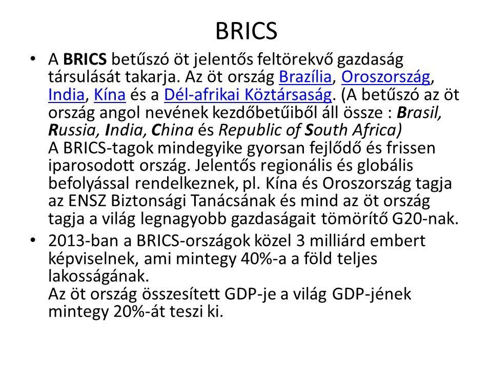BRICS A BRICS betűszó öt jelentős feltörekvő gazdaság társulását takarja. Az öt ország Brazília, Oroszország, India, Kína és a Dél-afrikai Köztársaság