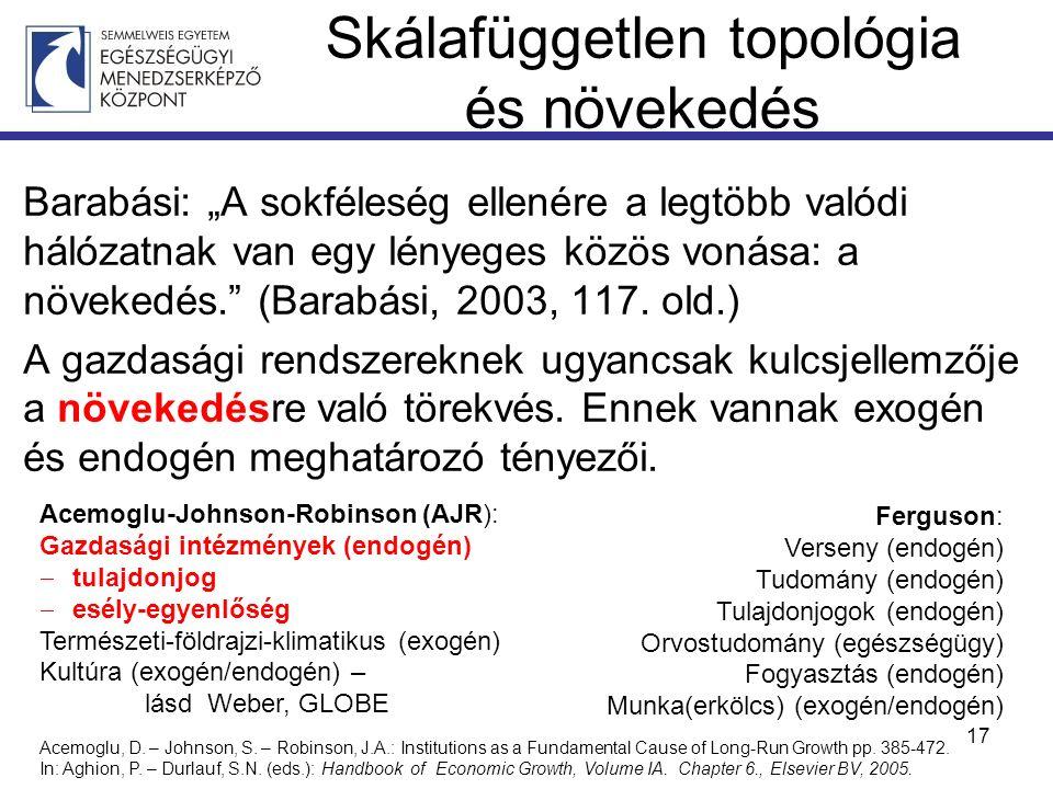 """Skálafüggetlen topológia és növekedés Barabási: """"A sokféleség ellenére a legtöbb valódi hálózatnak van egy lényeges közös vonása: a növekedés. (Barabási, 2003, 117."""