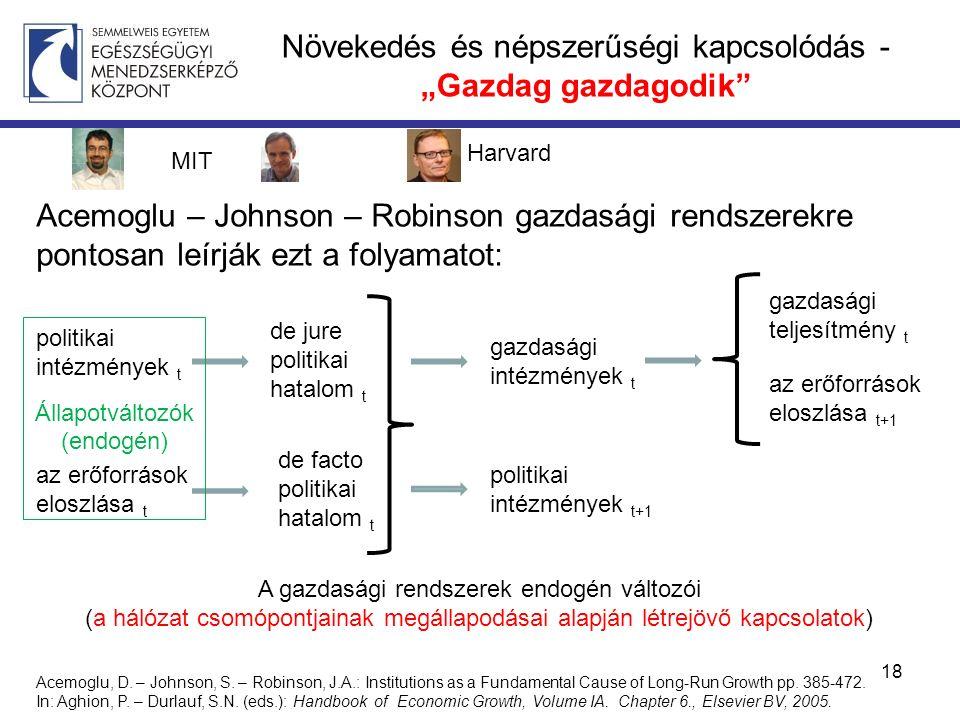 """Növekedés és népszerűségi kapcsolódás - """"Gazdag gazdagodik Acemoglu – Johnson – Robinson gazdasági rendszerekre pontosan leírják ezt a folyamatot: 18 politikai intézmények t az erőforrások eloszlása t de jure politikai hatalom t de facto politikai hatalom t gazdasági intézmények t politikai intézmények t+1 gazdasági teljesítmény t az erőforrások eloszlása t+1 Acemoglu, D."""