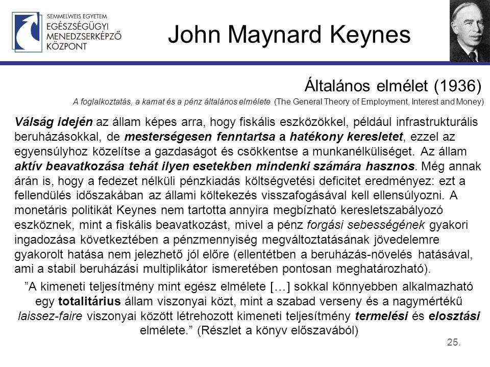 John Maynard Keynes Általános elmélet (1936) A foglalkoztatás, a kamat és a pénz általános elmélete (The General Theory of Employment, Interest and Money) Válság idején az állam képes arra, hogy fiskális eszközökkel, például infrastrukturális beruházásokkal, de mesterségesen fenntartsa a hatékony keresletet, ezzel az egyensúlyhoz közelítse a gazdaságot és csökkentse a munkanélküliséget.