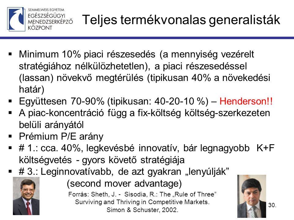 Teljes termékvonalas generalisták  Minimum 10% piaci részesedés (a mennyiség vezérelt stratégiához nélkülözhetetlen), a piaci részesedéssel (lassan) növekvő megtérülés (tipikusan 40% a növekedési határ)  Együttesen 70-90% (tipikusan: 40-20-10 %) – Henderson!.