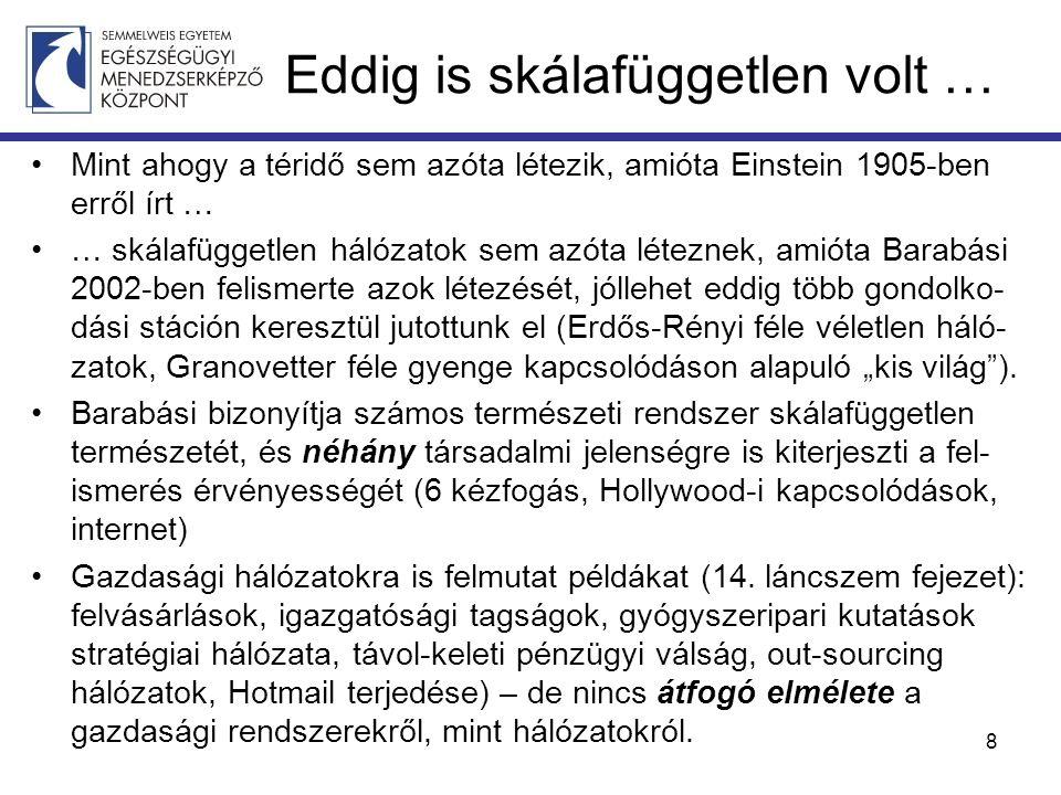 """Eddig is skálafüggetlen volt … Mint ahogy a téridő sem azóta létezik, amióta Einstein 1905-ben erről írt … … skálafüggetlen hálózatok sem azóta léteznek, amióta Barabási 2002-ben felismerte azok létezését, jóllehet eddig több gondolko- dási stáción keresztül jutottunk el (Erdős-Rényi féle véletlen háló- zatok, Granovetter féle gyenge kapcsolódáson alapuló """"kis világ )."""