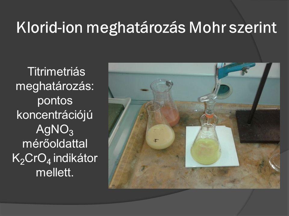 Klorid-ion meghatározás Mohr szerint Titrimetriás meghatározás: pontos koncentrációjú AgNO 3 mérőoldattal K 2 CrO 4 indikátor mellett.