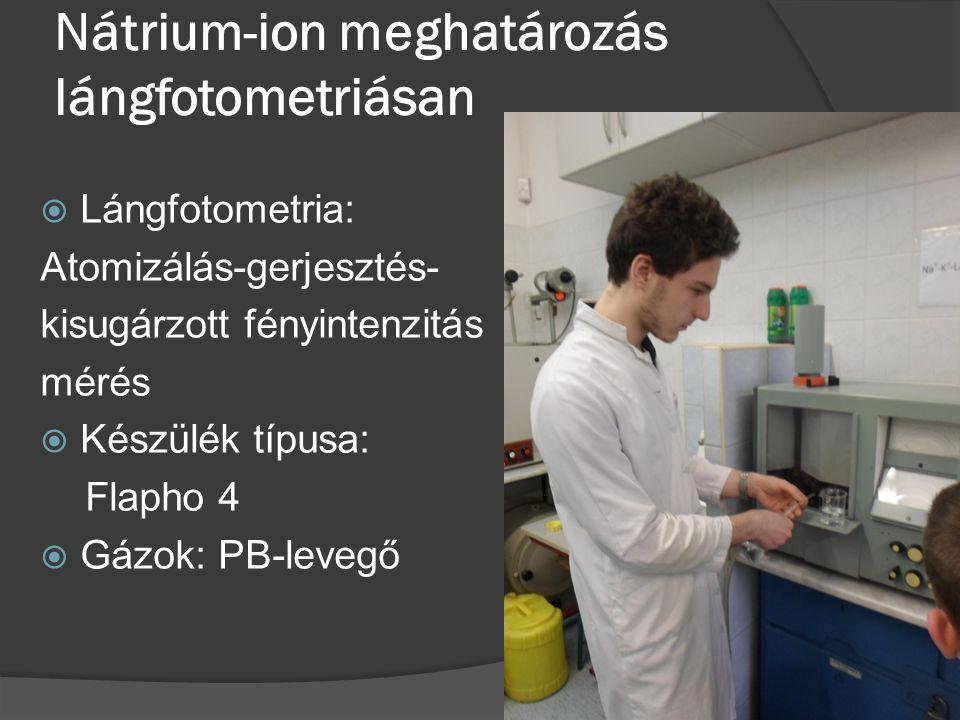 Nátrium-ion meghatározás lángfotometriásan  Lángfotometria: Atomizálás-gerjesztés- kisugárzott fényintenzitás mérés  Készülék típusa: Flapho 4  Gázok: PB-levegő