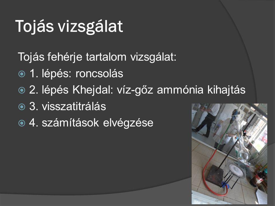 Tojás vizsgálat Tojás fehérje tartalom vizsgálat:  1. lépés: roncsolás  2. lépés Khejdal: víz-gőz ammónia kihajtás  3. visszatitrálás  4. számítás