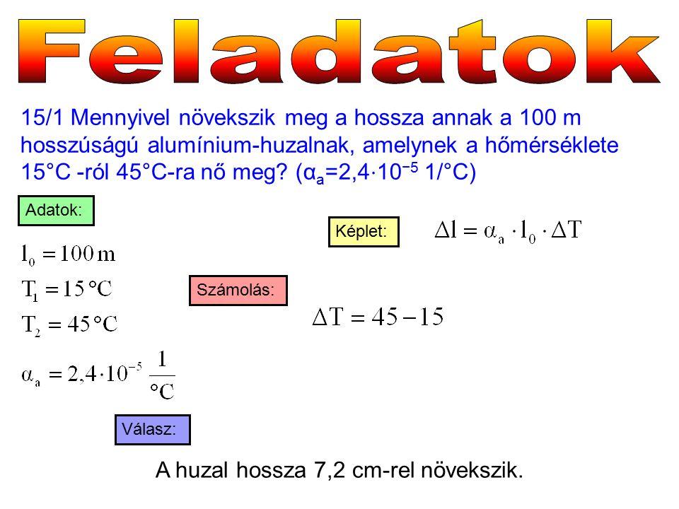 15/1 Mennyivel növekszik meg a hossza annak a 100 m hosszúságú alumínium-huzalnak, amelynek a hőmérséklete 15°C -ról 45°C-ra nő meg.