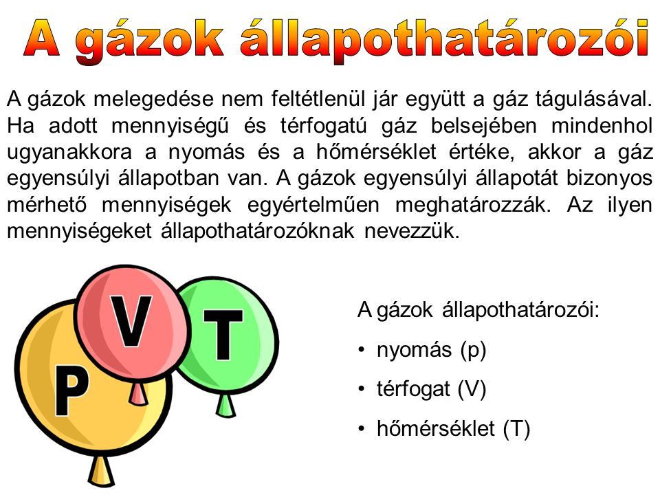 A gázok melegedése nem feltétlenül jár együtt a gáz tágulásával. Ha adott mennyiségű és térfogatú gáz belsejében mindenhol ugyanakkora a nyomás és a h