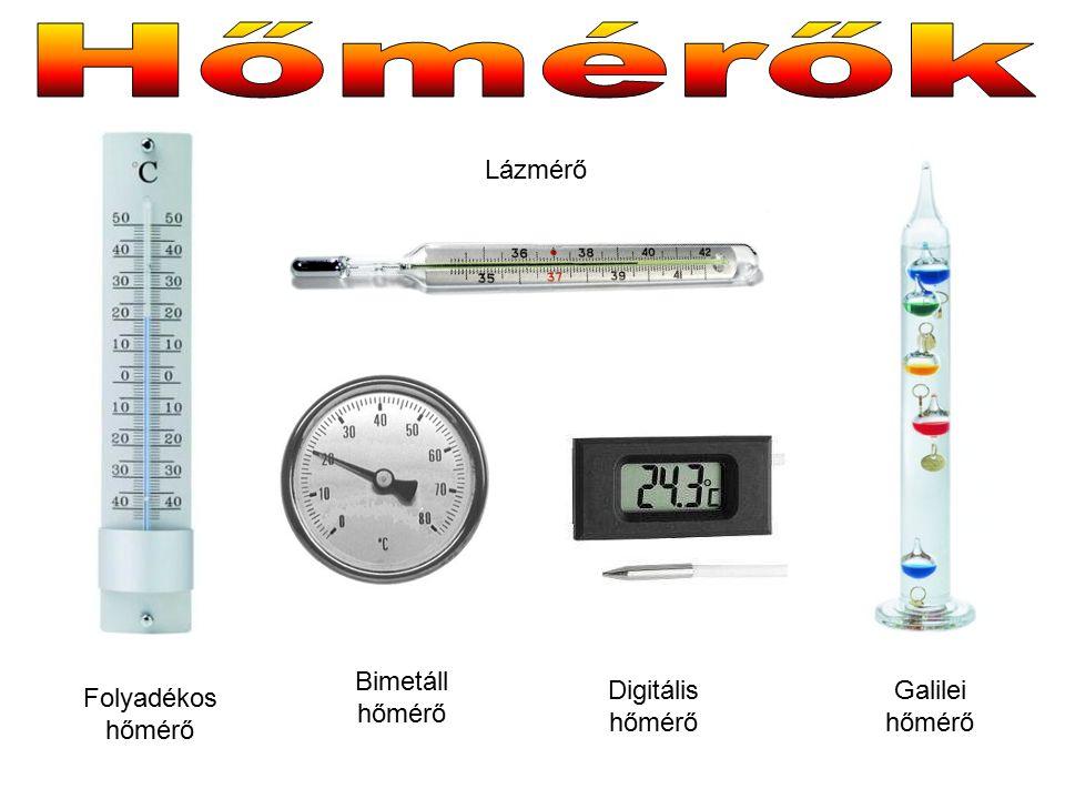 Lázmérő Folyadékos hőmérő Bimetáll hőmérő Digitális hőmérő Galilei hőmérő