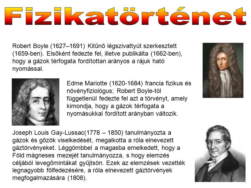 Robert Boyle (1627–1691) Kitűnő légszivattyút szerkesztett (1659-ben). Elsőként fedezte fel, illetve publikálta (1662-ben), hogy a gázok térfogata for
