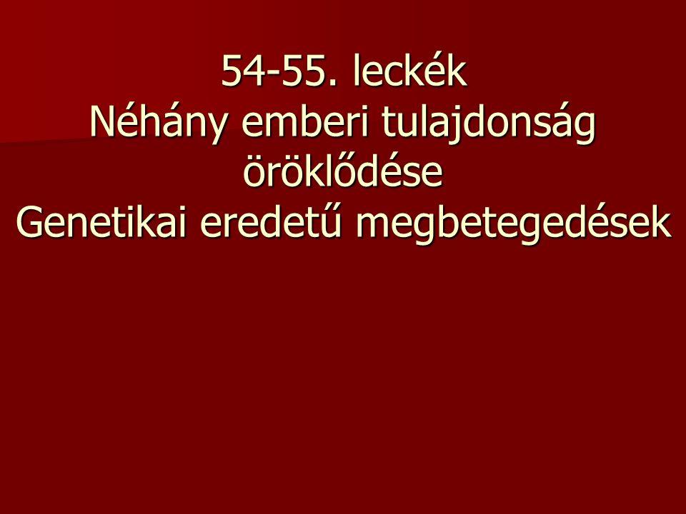 Világoskék0 domináns allél Kék1 domináns allél Türkiz2 domináns allél Zöld3 domináns allél Világosbarna4 domináns allél Barna5 domináns allél Sötétbarna ill.