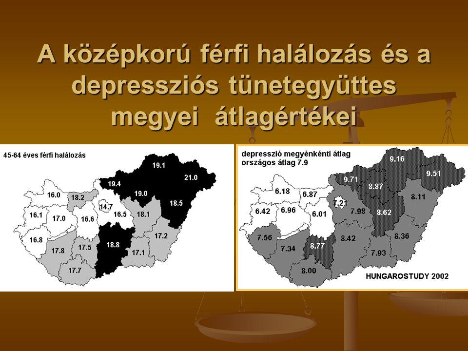 A depressziós tünetegyüttes változása 2002 és 2006 között: 2002-ben 13.6 % volt a kezelésre szoruló depresszió aránya 2002-ben 13.6 % volt a kezelésre szoruló depresszió aránya mind a teljes népességet képviselő mintában, mint azok között, akik beleegyeztek az utánkövetésbe, mind a teljes népességet képviselő mintában, mint azok között, akik beleegyeztek az utánkövetésbe, 2006- ra ez az arány 17.6 %-ra, 4 %-kal emelkedett.