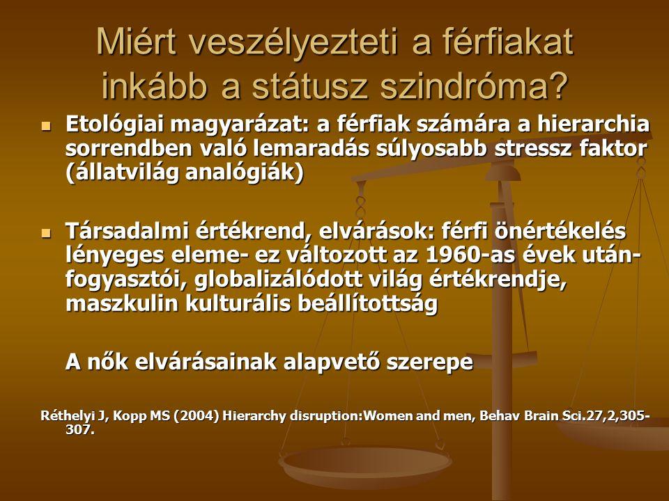 """A """"státusz szindróma jelentősége M. Marmot: Status syndrome: angol közalkalmazottak vizsgálata M."""