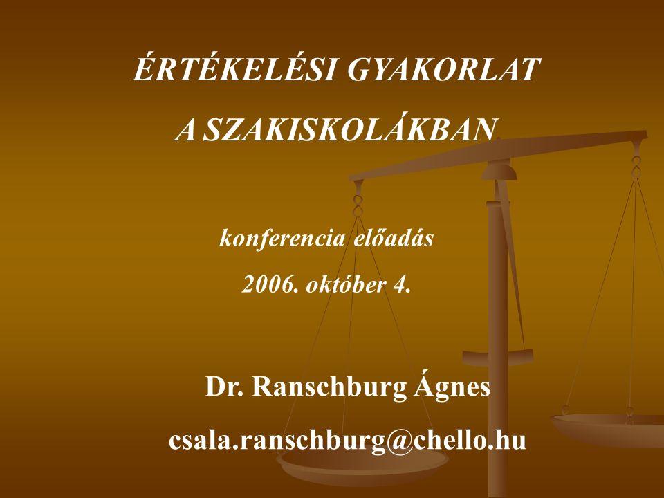 ÉRTÉKELÉSI GYAKORLAT A SZAKISKOLÁKBAN konferencia előadás 2006.