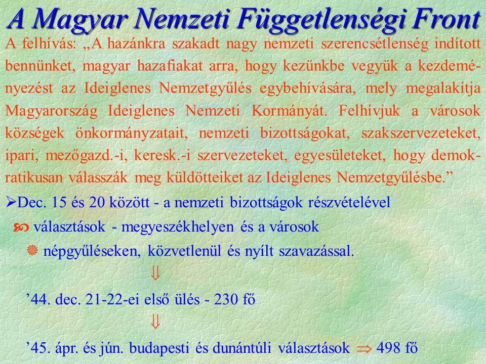 A Magyar Nemzeti Függetlenségi Front  Dec.