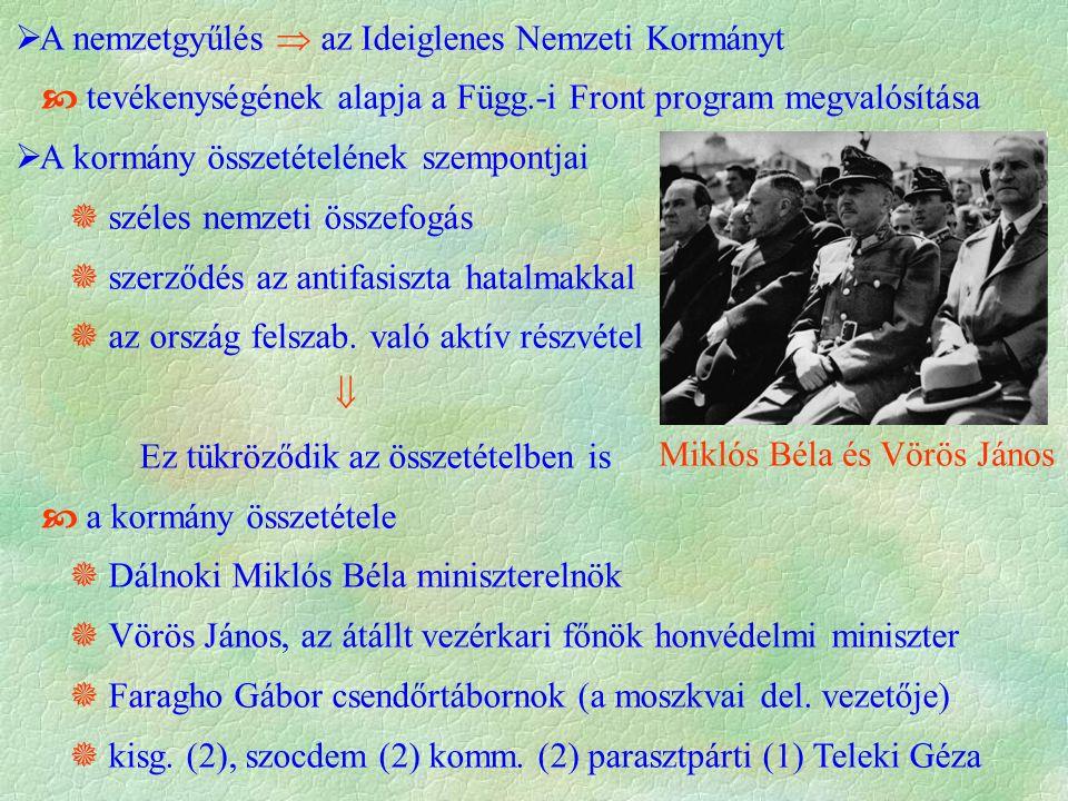  A nemzetgyűlés  az Ideiglenes Nemzeti Kormányt  tevékenységének alapja a Függ.-i Front program megvalósítása  A kormány összetételének szempontjai  széles nemzeti összefogás  szerződés az antifasiszta hatalmakkal  az ország felszab.