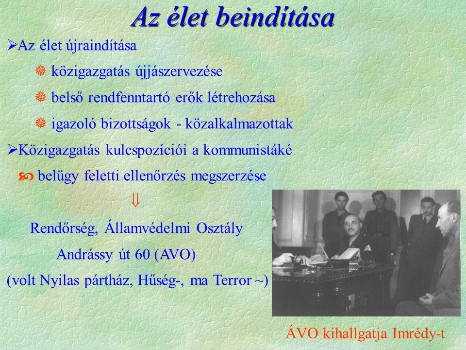 Az élet beindítása  Az élet újraindítása  közigazgatás újjászervezése  belső rendfenntartó erők létrehozása  igazoló bizottságok - közalkalmazottak  Közigazgatás kulcspozíciói a kommunistáké  belügy feletti ellenőrzés megszerzése  Rendőrség, Államvédelmi Osztály Andrássy út 60 (AVO) (volt Nyilas pártház, Hűség-, ma Terror ~) ÁVO kihallgatja Imrédy-t