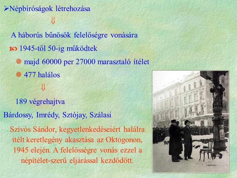 Szívós Sándor, kegyetlenkedéseiért halálra ítélt keretlegény akasztása az Oktogonon, 1945 elején.